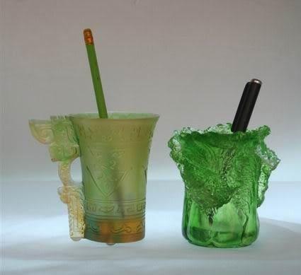 精品琉璃 高檔辦公用品擺件 家居裝飾禮品 五皇尊杯 筆筒創意時尚