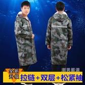 成人長版雨衣男女迷彩加肥加大連身雨衣雙層加厚戶外徒步勞保雨衣XL-3XL