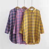 棉質 日系格紋長版襯衫上衣-中大尺碼 獨具衣格