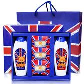 英國貝爾小熊香氛抗菌國旗SPA  1 洗髮乳1 沐浴乳3 抗菌皂附贈精美英倫風紙提袋