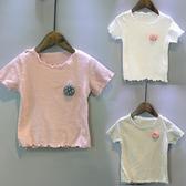 兒童短袖T恤 新款韓版童裝花朵木耳邊打底短袖t恤