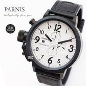 【完全計時】手錶館│PARNIS 軍錶風格多功能計時腕錶-右手錶 PA5004-D 石英錶 大錶徑 左撇子