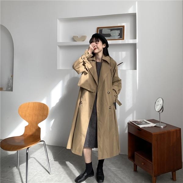 【現貨】梨卡-韓版寬鬆英倫風中長款防風西裝領系帶百搭時尚風衣外套BR1069