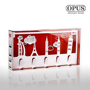 OPUS 歐式鐵藝壁飾掛勾/裝飾掛鉤/掛衣架(經典建築_白)