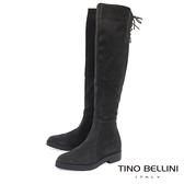 Tino Bellini義大利進口麂皮心機內增高過膝靴_ 深灰  B69004 歐洲進口款