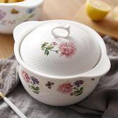 聖誕預熱 陶瓷雙耳湯碗帶蓋可愛 日式泡面碗家用大號 微波爐碗大碗湯盆簡約 居享優品