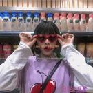原宿風日系風少女心甜美粉紅色愛心超萌網美蹦迪墨鏡可愛太陽眼鏡【公主日記】