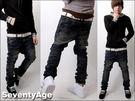 ∥柒零年代∥Incomparable【N6795J】日韓雜復古色調雪花刷色窄管小直統牛仔褲(SH4027)
