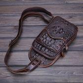 胸包 真皮休閒包 鱷魚紋挎包 【非凡上品】X1356