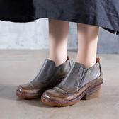 真皮靴 粗跟 圓頭 低筒 耐磨 踝靴/2色-標準碼-夢想家-0813
