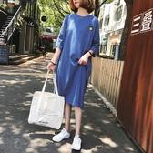 【A4807】條紋開叉短袖連身裙 XL-5XL