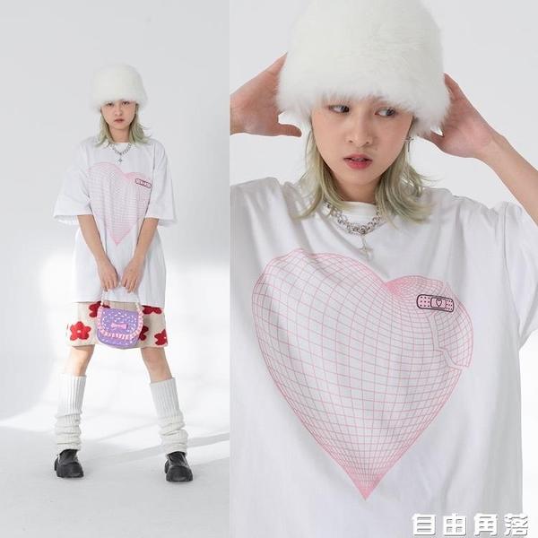 韓國網格愛心OK邦T恤女 寬松短袖 T恤 愛心 自由角落