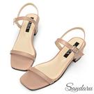 涼鞋 簡約一字帶方頭中跟鞋-棕