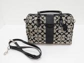 【COACH】 緹花布條紋黑色皮飾邊斜背/波士頓包