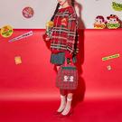 NXS 正韓 不二家 聖誕毛衣 格紋 格子 針織衫 針織 長袖 長版 寬鬆 毛衣 復古 牛奶妹 PEKO 韓國
