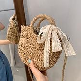草編包包2021新款時尚網紅女包側背斜背包女百搭ins手提菜籃子包 果果輕時尚