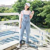 吊帶褲/春裝新款韓版學院風刺繡寬鬆顯瘦減齡牛仔女學生長褲「歐洲站」