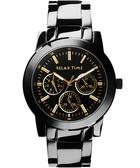 Relax Time 時尚達人日曆顯示手錶-黑x金時標/38mm R0800-16-21B
