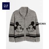 Gap x Disney男嬰幼童迪士尼系列米奇開襟長袖針織衫 363624- 淺石楠灰