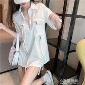 棉麻衫港味復古氣質休閒工裝服拉錬半袖襯衫女短袖上衣 小宅妮