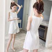 小禮服小清新無袖流行白色連身裙夏裝【多多鞋包店】w647