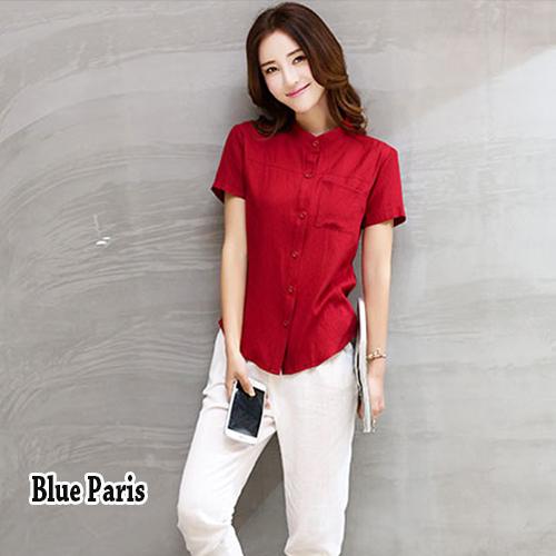 【藍色巴黎】 韓版純色立領排釦口袋短袖上衣 T恤《2色》【28667】