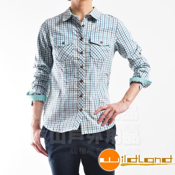 Wildland 荒野 0A22201-47藍綠色 女彈性格子布保暖襯衫