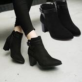 粗跟短靴-時尚簡約尖頭設計女馬丁靴73is4【時尚巴黎】