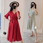 孕婦裝夏裝2020時尚款潮寬鬆長款過膝夏季雪紡洋裝夏天孕婦裙子 京都3C