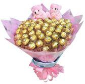 娃娃屋樂園~60朵金莎+2隻小熊-金莎分享花束 每束1800元/婚禮小物/情人節花束