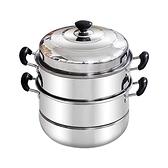 不銹鋼蒸鍋三層多1層加厚湯鍋具蒸格蒸籠饅頭3層二2層電磁爐家用 HM  范思蓮恩