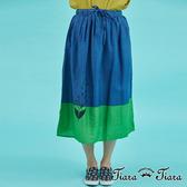 【Tiara Tiara】花葉圖騰鬆緊腰半身裙(藍/紅)