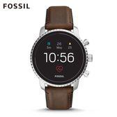 FOSSIL Q EXPLORIST HR 咖啡色皮革觸控式螢幕智慧手錶 男