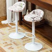 科潤 吧台椅歐式酒吧椅子升降旋轉高腳凳子前台吧凳靠背鐵藝吧椅