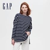 Gap女裝 簡約風格純色圓領長袖T恤 656453-海軍藍條紋