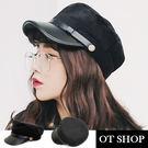 OT SHOP帽子‧硬挺皮質+棉質金屬扣...