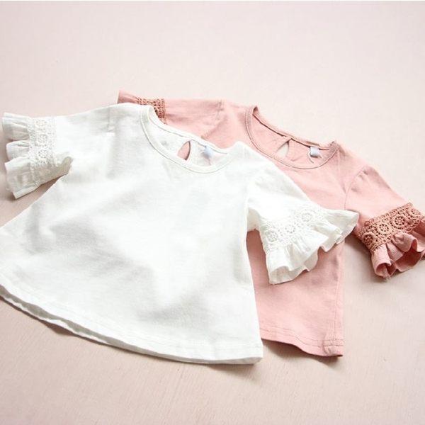 短袖上衣  女童純色蕾絲花邊圓領喇叭袖上衣 S73018 AIB小舖