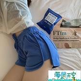 運動短褲 高腰短褲 休閒褲 黑色闊腿褲 【海闊天空】