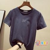 大碼女裝 夏裝新款棉質超火短袖t恤女裝潮夏季韓版寬鬆百搭上衣服? 4色