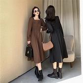 (下殺)氣質方領鬆緊腰輕熟風減齡顯瘦連身裙【08SG04801】