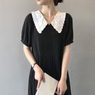 法式刺繡領百褶裙短袖洋裝連身裙【83-16-8H6081-21】ibella 艾貝拉
