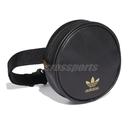 adidas 斜背包 Round Waist Bag 黑 金 女款 皮革 小包包 運動休閒 【ACS】 FL9628