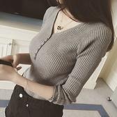 秋冬v領套頭毛衣女長袖修身短款針織衫紐扣新款內搭打底衫上衣春 米娜小鋪