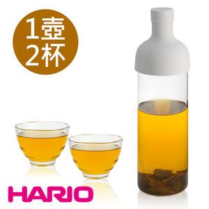 【日本 HARIO】750ml酒瓶冷泡茶壺及雲吞耐熱杯組