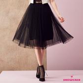 【SHOWCASE】唯美亮蔥飄逸網紗鬆緊腰百搭中長紗裙(黑)