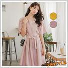 連身裙 氣質腰帶排扣短袖洋裝MR9023...