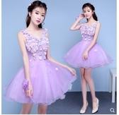 小鄧子晚禮服新款春彩紗蓬蓬裙短款伴娘服小禮服主持人演出服顯瘦女