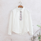 秋裝文藝ins領帶長袖襯衫韓版潮流學生男女修身打底衫內搭白襯衣