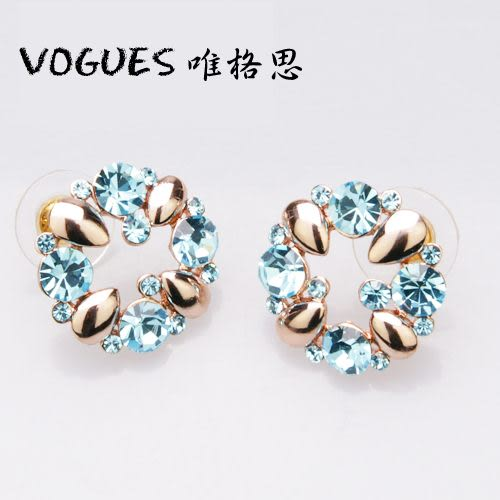 摩天輪造型鑲鑽耳環(4色)B007  / 一對180元 情人節禮物【Vogues唯格思】
