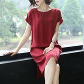 新款寬鬆重磅銅氨絲連身裙女短袖大碼OL洋装氣質純色中長款裙 mj13808【大尺碼女王】
